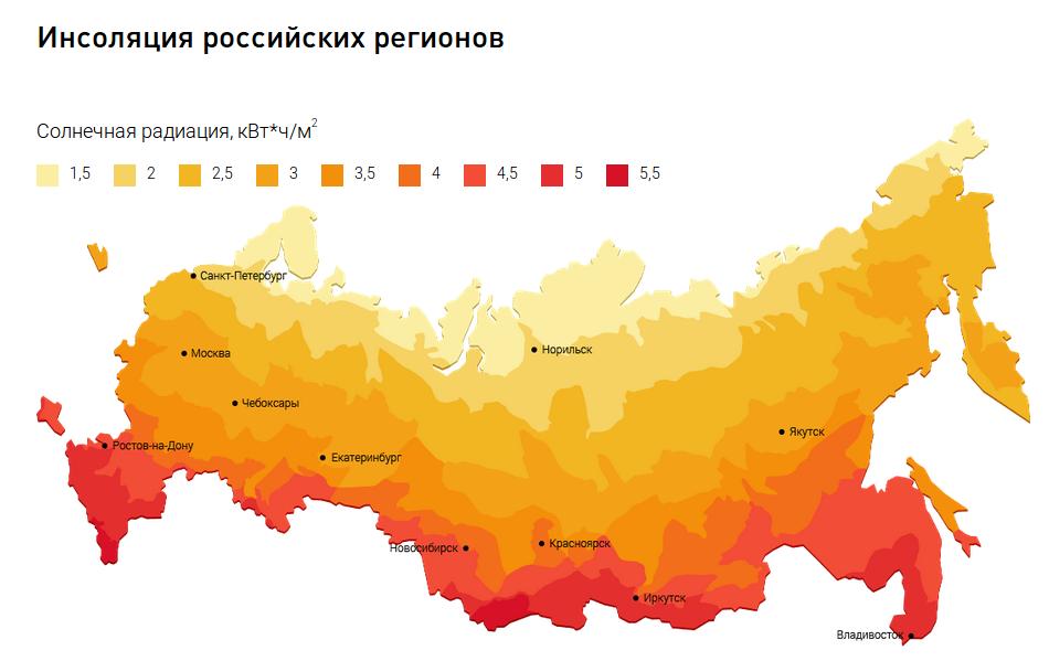 Карта России с зонами инсоляции